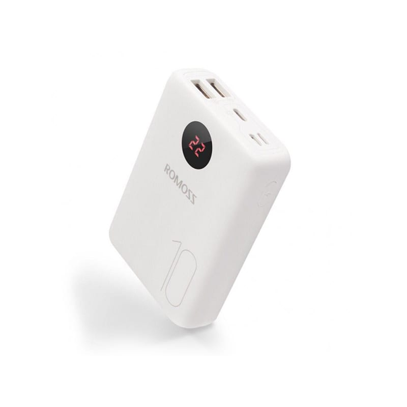 ROMOSS OM10 10000MAH INPUT:TYPE-C LIGHTNING MICRO USB OUTPUT:2 X USB POWER BANK – WHITE